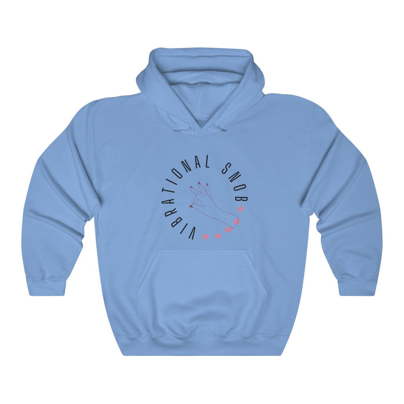A blue hoodie with a quote Vibrational Snob