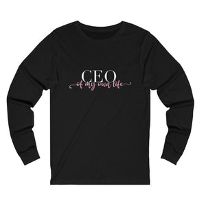 Women's black long sleeve tee with a quote CEO of My Own Life