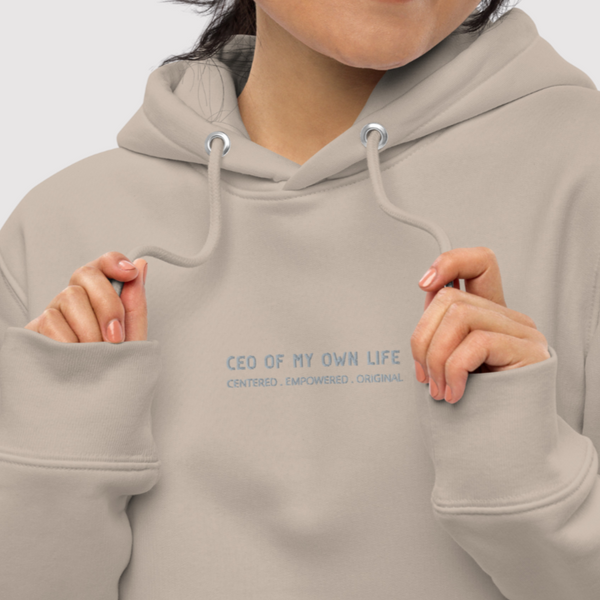 A white crop top hoodie with a design Taken and Heart / Self Love