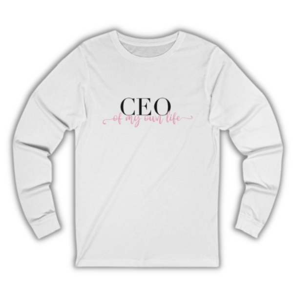 A crew neck long sleeve tee in white with a design CEO of my own life