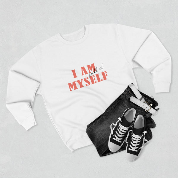 A clothing set of black jeans, shoes and white crewneck sweatshirt with a quote I am full of myself