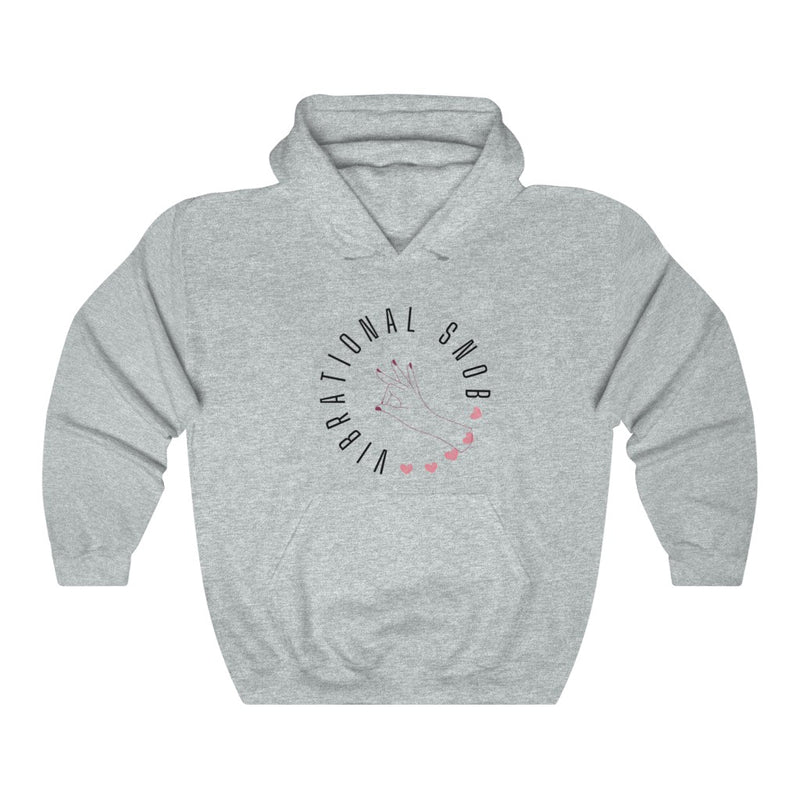 A heather hoodie with a quote Vibrational Snob