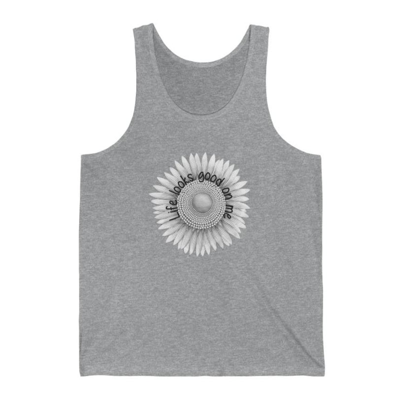 A grey tank top with a sunflower design and quote Life looks good on me