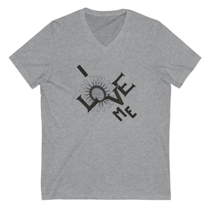 Women's grey v-neck tee with a quote I love me