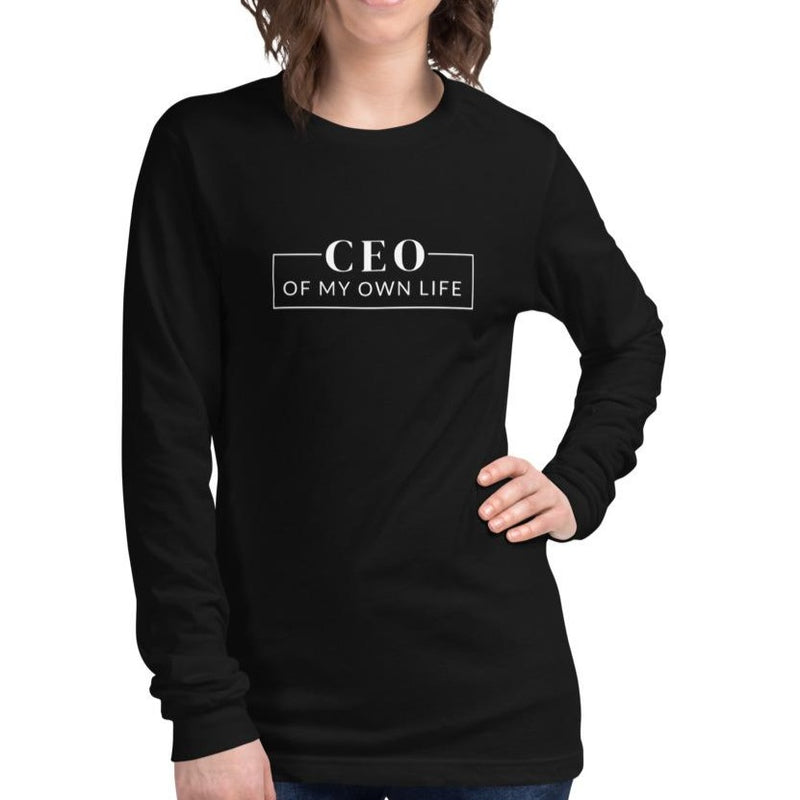 Woman wearing a black short sleeve crew-neck t-shirt with a quote CEO of my own life