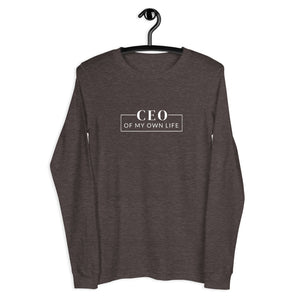 Long sleeve tee with a quote CEO of my own life