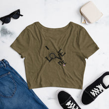 Load image into Gallery viewer, Women's olive crop top tee with a quote I Love Me
