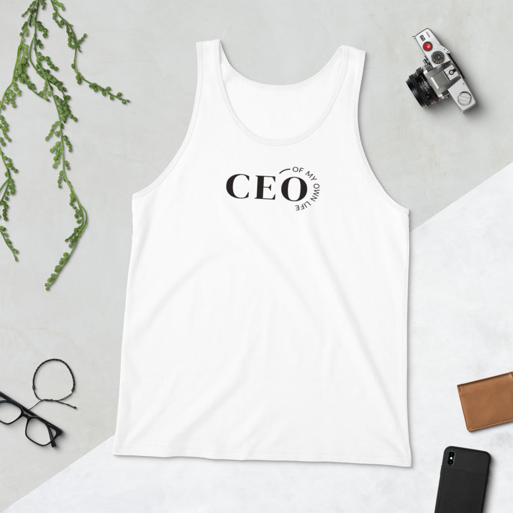 White women's tank top with a quote CEO of My Own Life
