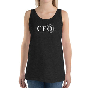 Woman wearing black tank top with a quote CEO of My Own Life
