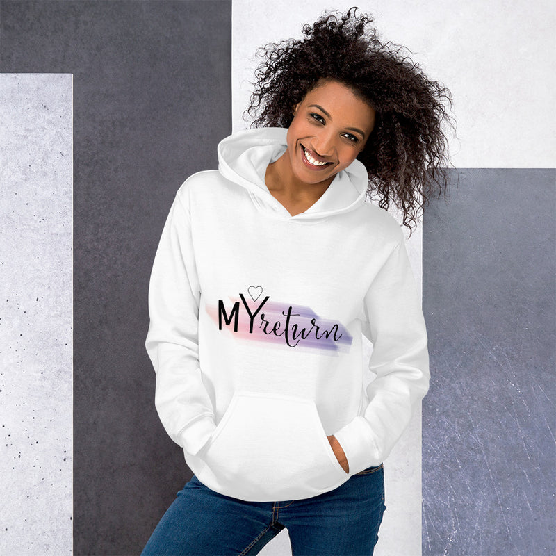 Woman wearing a white hoodie with a logo My Return