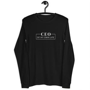 Black long sleeve tee with a quote CEO of my own life