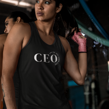 Load image into Gallery viewer, Woman at the gym wearing a black tank top with a quote CEO of My Own life