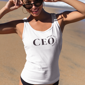 Woman on the beach wearing white tank top with a quote CEO of My Own Life