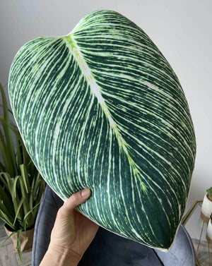 philodendron birkin leaf pillow enjoypillows