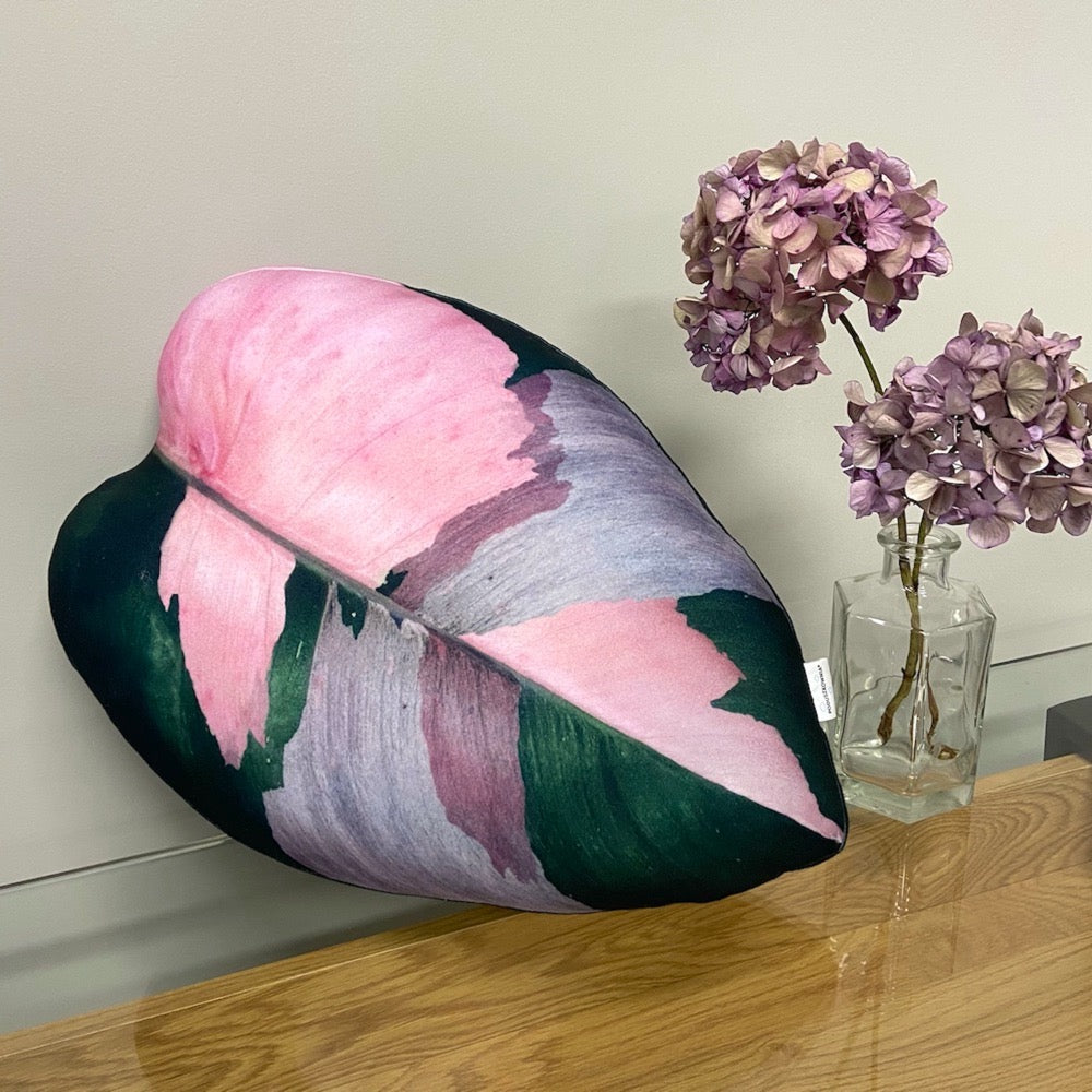 pink philodendron pillow