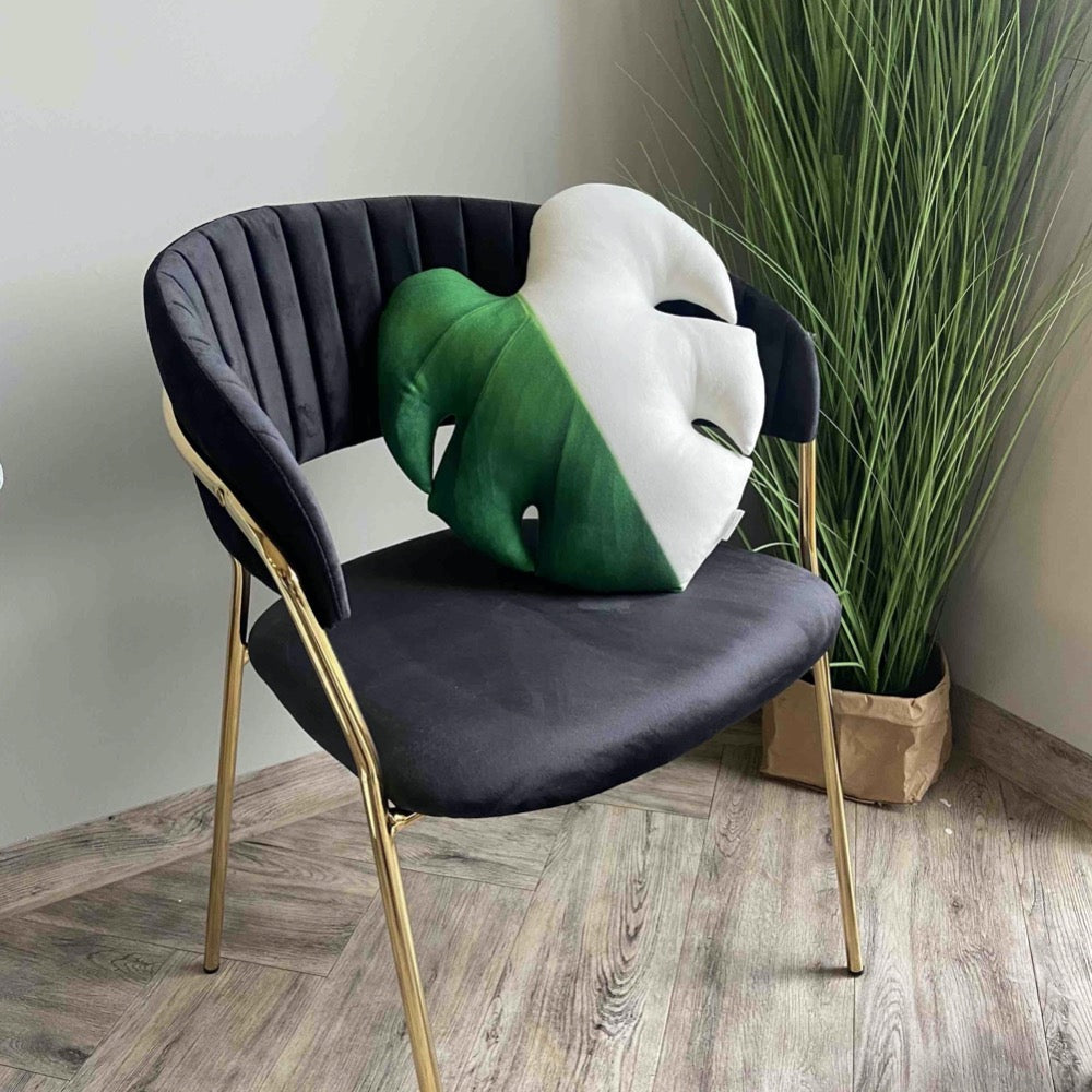 Monstera Half Moon pillow