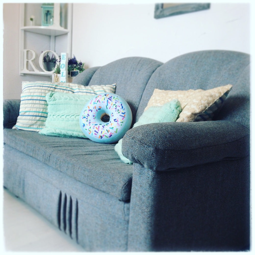 donut mint throw pillow