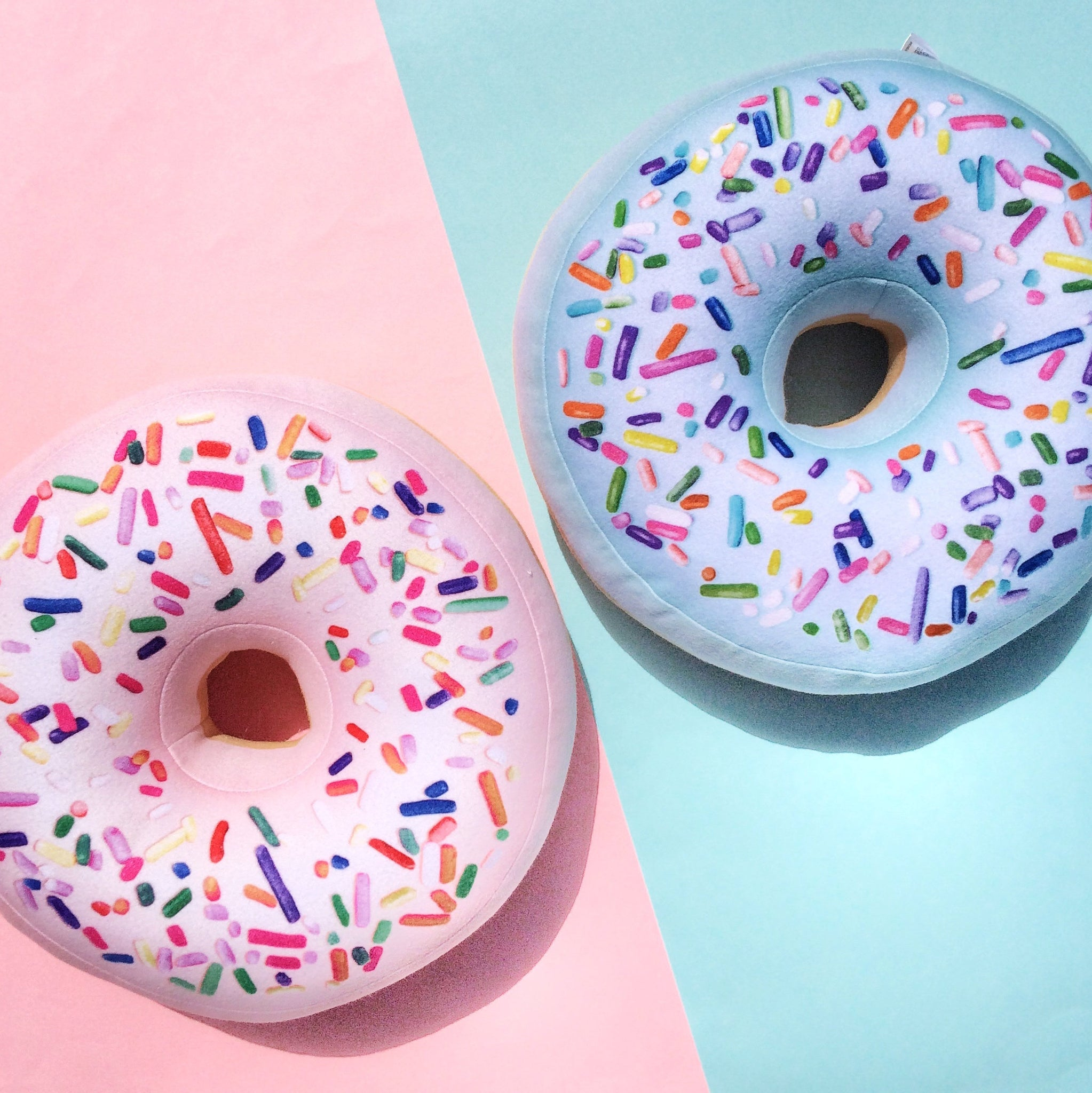 donuts pillows, pink donut, mint donut