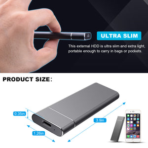 OTCPP Portable External Hard Drive For Mac/PC/Laptop/Desktop - USB 3.1 Type-C