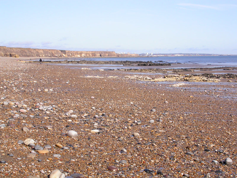On the beach collecting sea glass in Seaham, England.