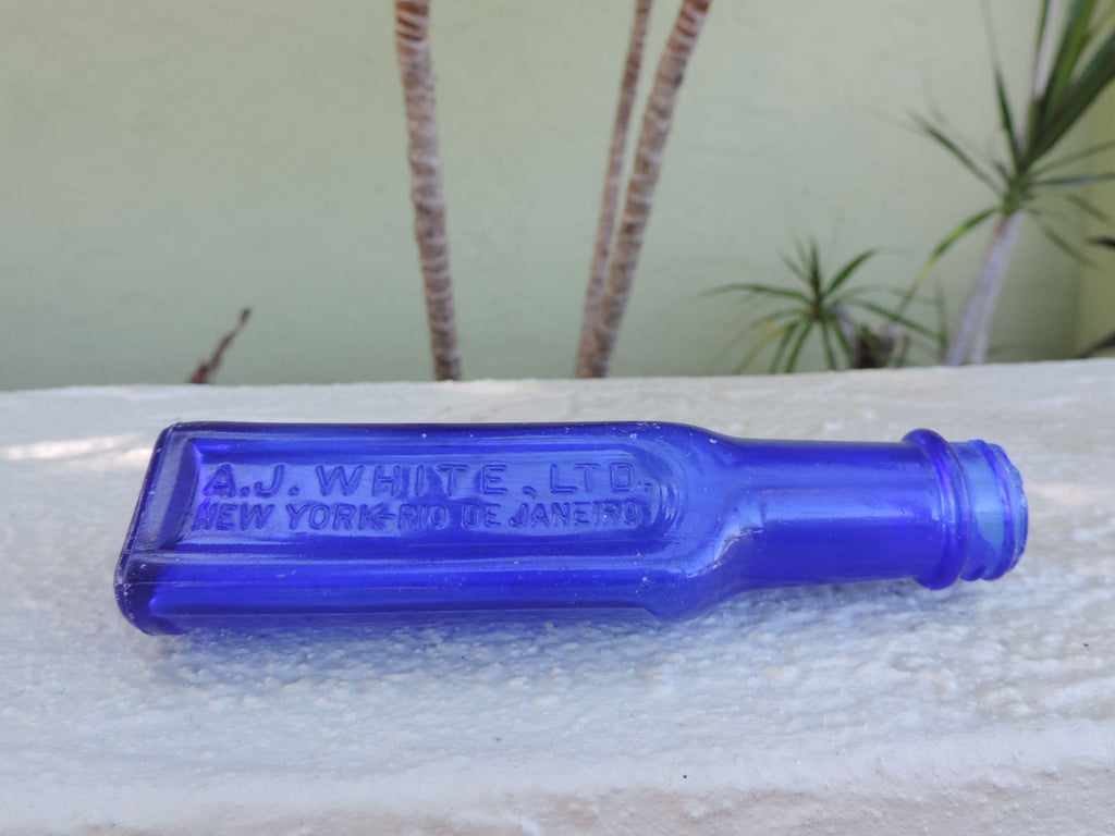 An old cobalt blue Laxol bottle that was found in a stream in Rincon, Puerto Rico.
