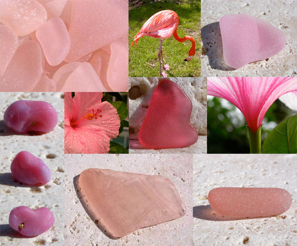 Beautiful pieces of rare pink sea glass, hibiscus flowers and a flamingo.