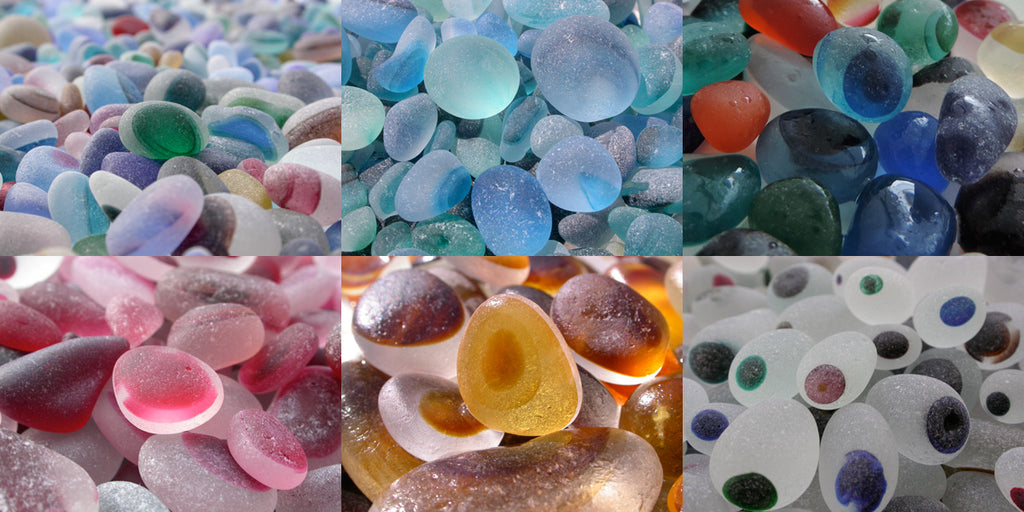 These beautiful pieces of multicolored sea glass were found on a beach in England near the site of an old glassworks that discard scraps of glass into the North Sea.