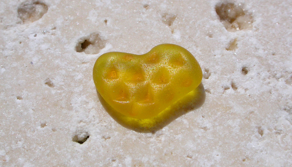 Yellow sea glass from Rincon, Puerto Rico.