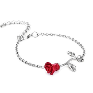 Red Rose Bracelet Simple Flower Bracelet Bangle Valentine's Day Gift For Girlfriend 3 Color Women Chain Wedding Present Gift