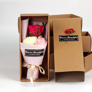 Valentines Day Gift Box Scented Bath Body Petal Rose Flower Soap Wedding Decoration Best Butterflyknot Box Artificial Flowers
