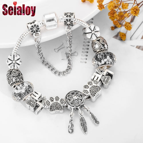 925 Fashion Silver Bear Palm Dreamcatcher Feather Charm Bracelets For Women Men Original Crystal Flowers LOVE Beaded Bangle Gift
