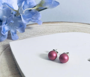 Swarovski Mulberry Pink pearl stud earrings