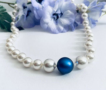 Swarovski Iridescent Dark Blue pearl necklace