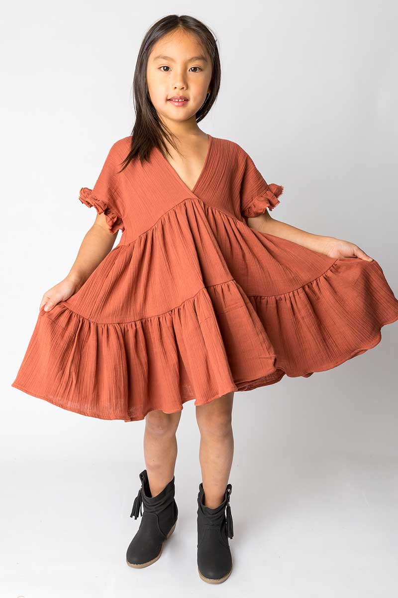 Cotton Muslin Ruffle Dress – Terracotta