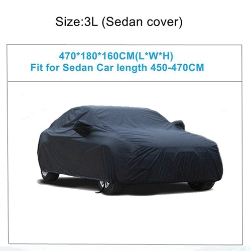 X Autohaux Universal Black Breathable Waterproof Fabric Car Cover