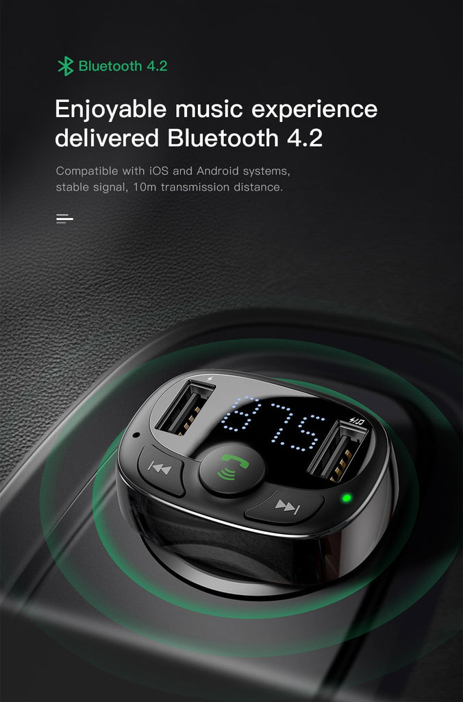Baseus FM Transmitter Handsfree Bluetooth Car Kit MP3 Player