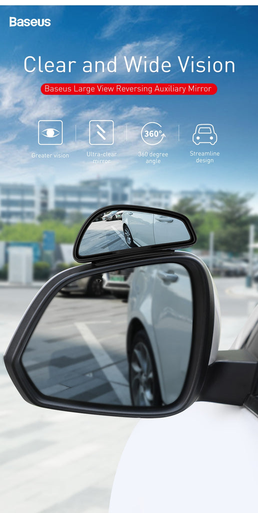 Baseus 1 Pair Car Blind Spot Mirror Car Rearview Auxiliary Mirror