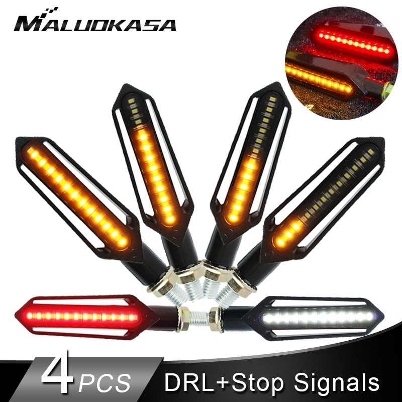 Motorcycle Turn Signals Tail Light LED Flowing Water Flashing Blinker Brake/Running Light