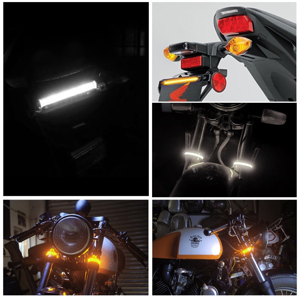 1Pc Universal LED Motorcycle Turn Signal Light & DRL Amber White