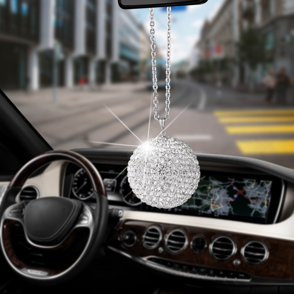 Large Size Bling Bling Diamond Crystal Ball Car Ornaments