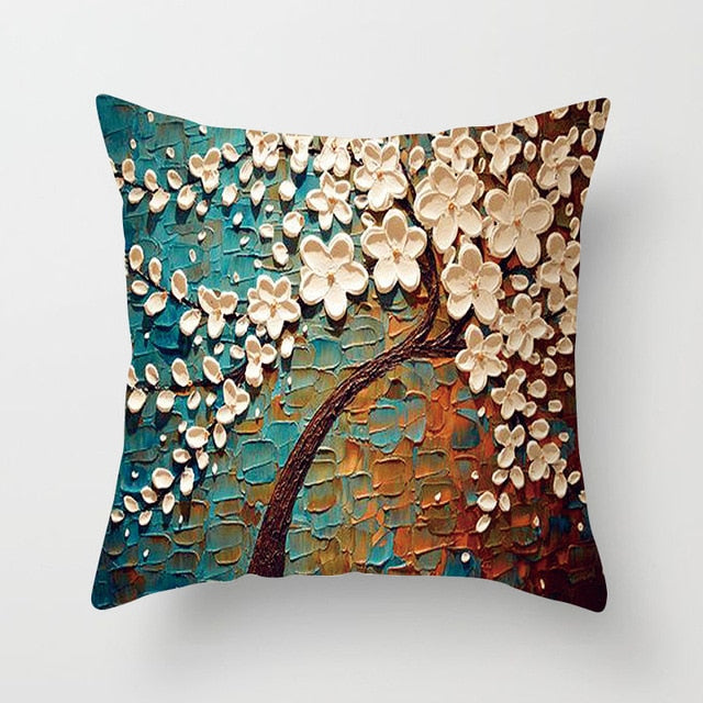 Nordic Style Oil Painting Cushion Cover Polyester Sofa Throw Pillow Car