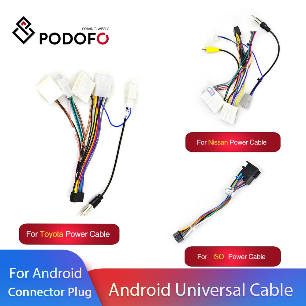 Podofo Android 2 Din Car radio Multimedia Player Universal Accessories Wire Adapter Connector