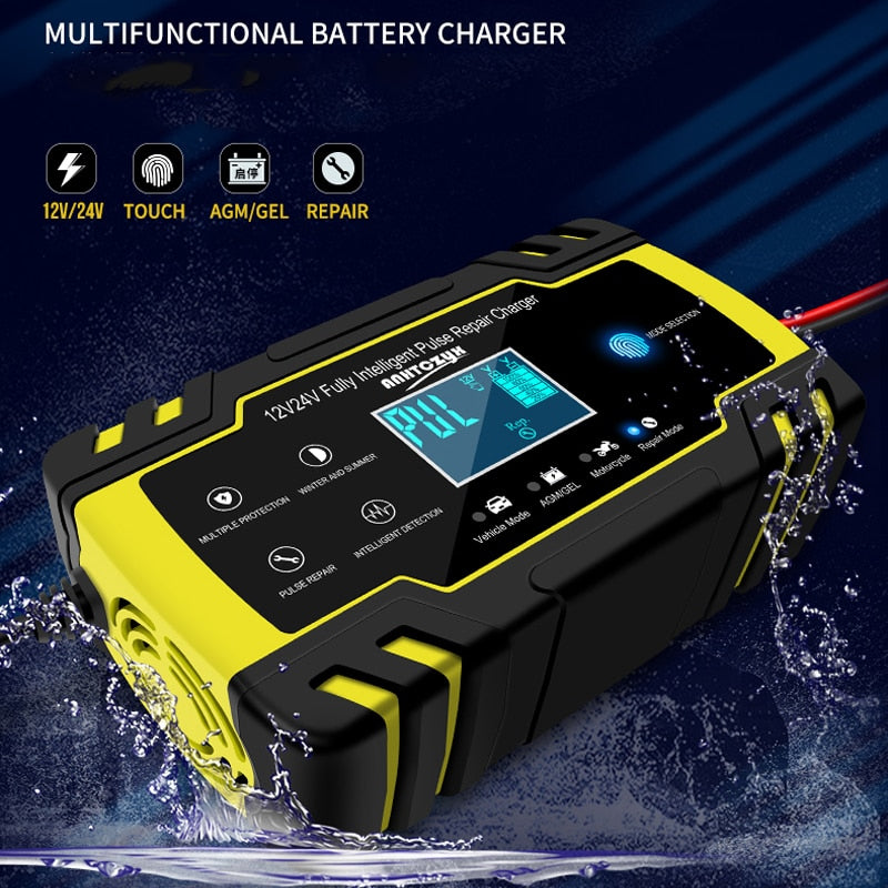LCD Battery Charger For Car Motorcycle Lead Acid Battery