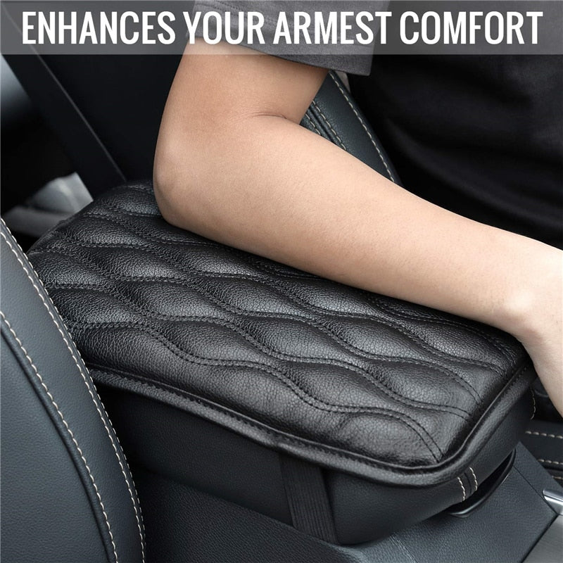Car Arm rest Pad Black Leather Auto Central Center Console