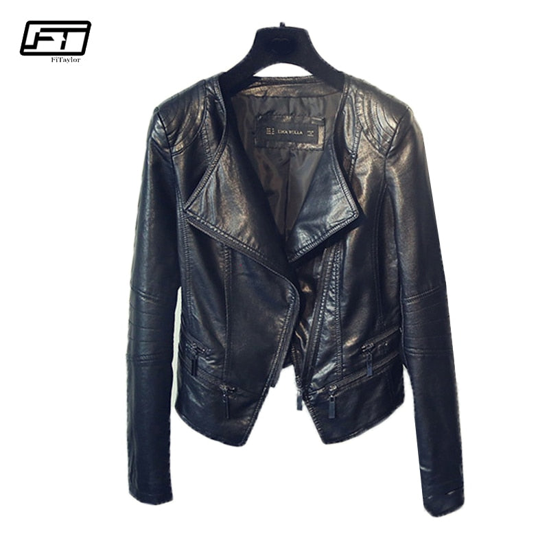 Fitaylor Spring Autumn Ladies Motorcycle Leather Jackets