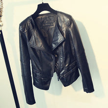 Load image into Gallery viewer, Fitaylor Spring Autumn Ladies Motorcycle Leather Jackets
