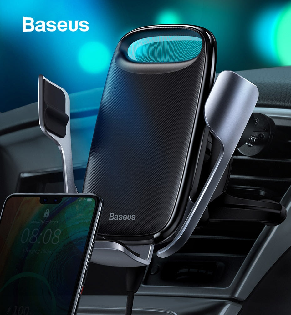 Baseus 15W Qi Wireless Car Charger for iPhone Samsung S8 S9 Air Vent Mount Mobile Holder