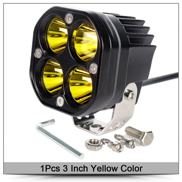3 Inch Led Work Light Bar 12V 24V Yellow Fog Lamp 4x4 for Motorcycle