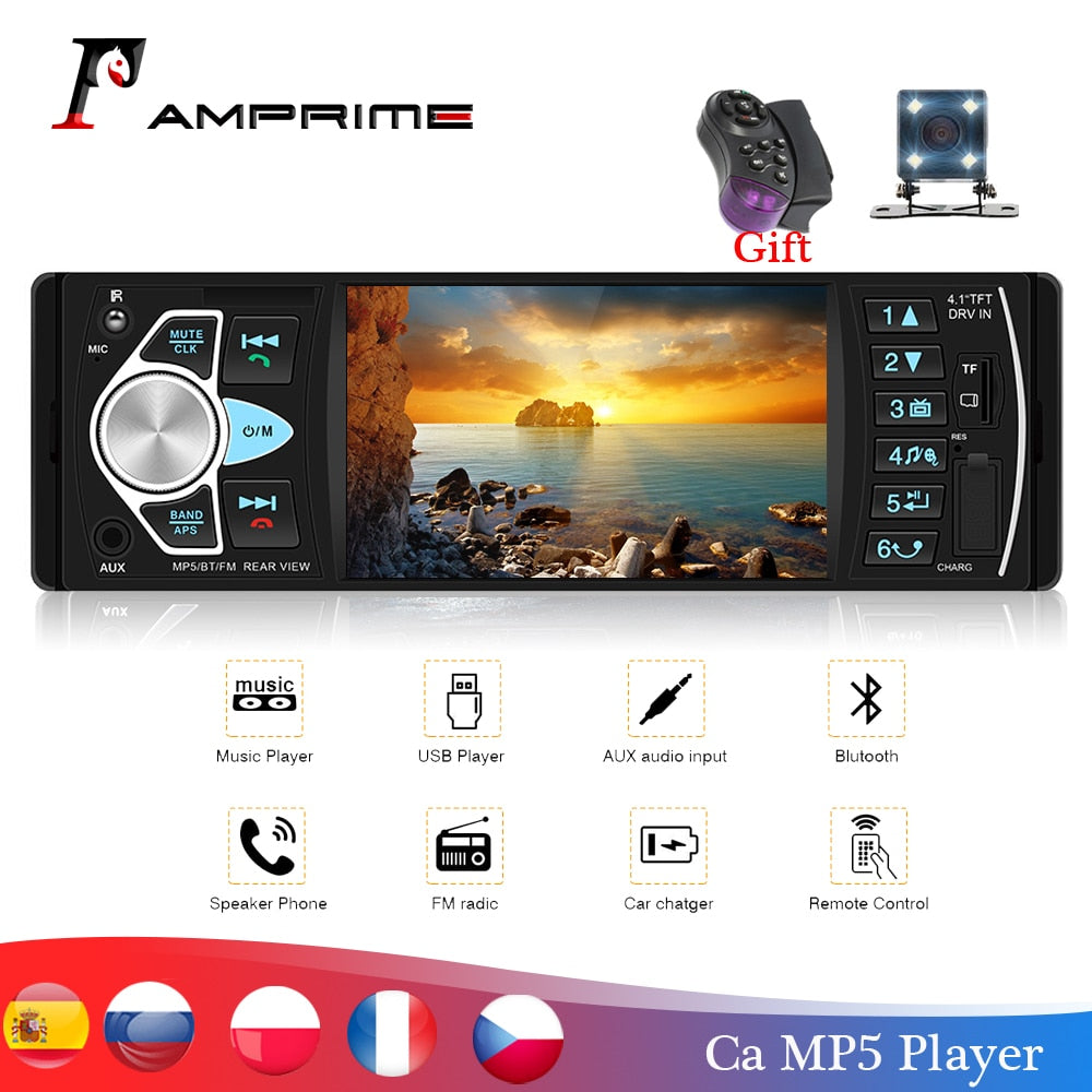 "AMPrime Autoradio 4022D 4.1"" 1 Din Car Radio Audio Stereo USB AUX FM Audio Player"