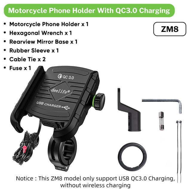 Deelife Motorcycle Mobile Phone Holder With USB Charger QC 3.0